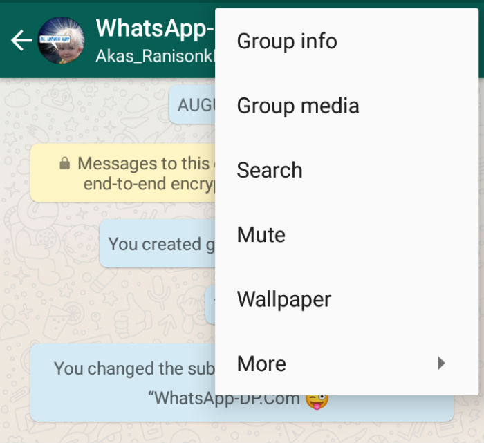 whatsapp group menu