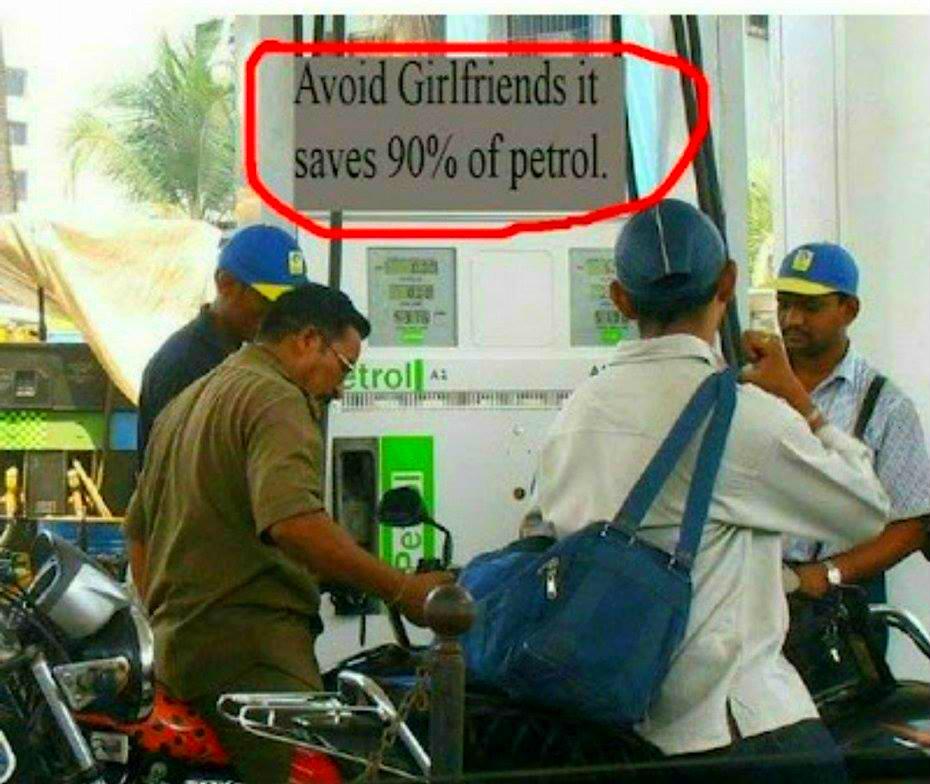Avoid girlfriend it save 90 percent of petrol