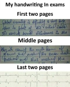 My handwring in Exams - Funny Sarcasm Status