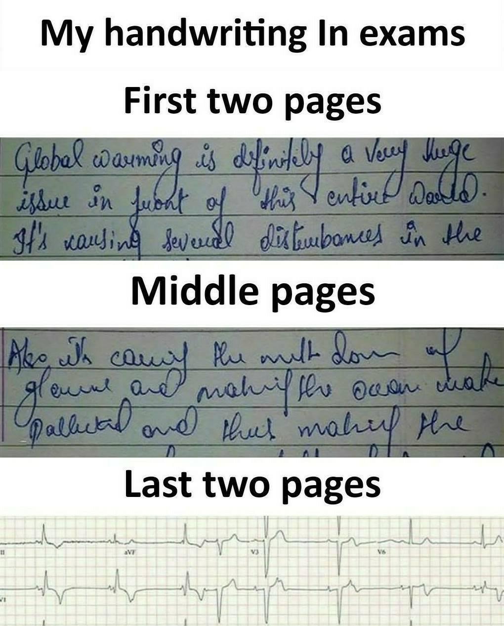 My handwring in Exams – Funny Sarcasm Status