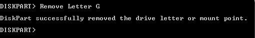 Remove Letter G - Diskpart Command