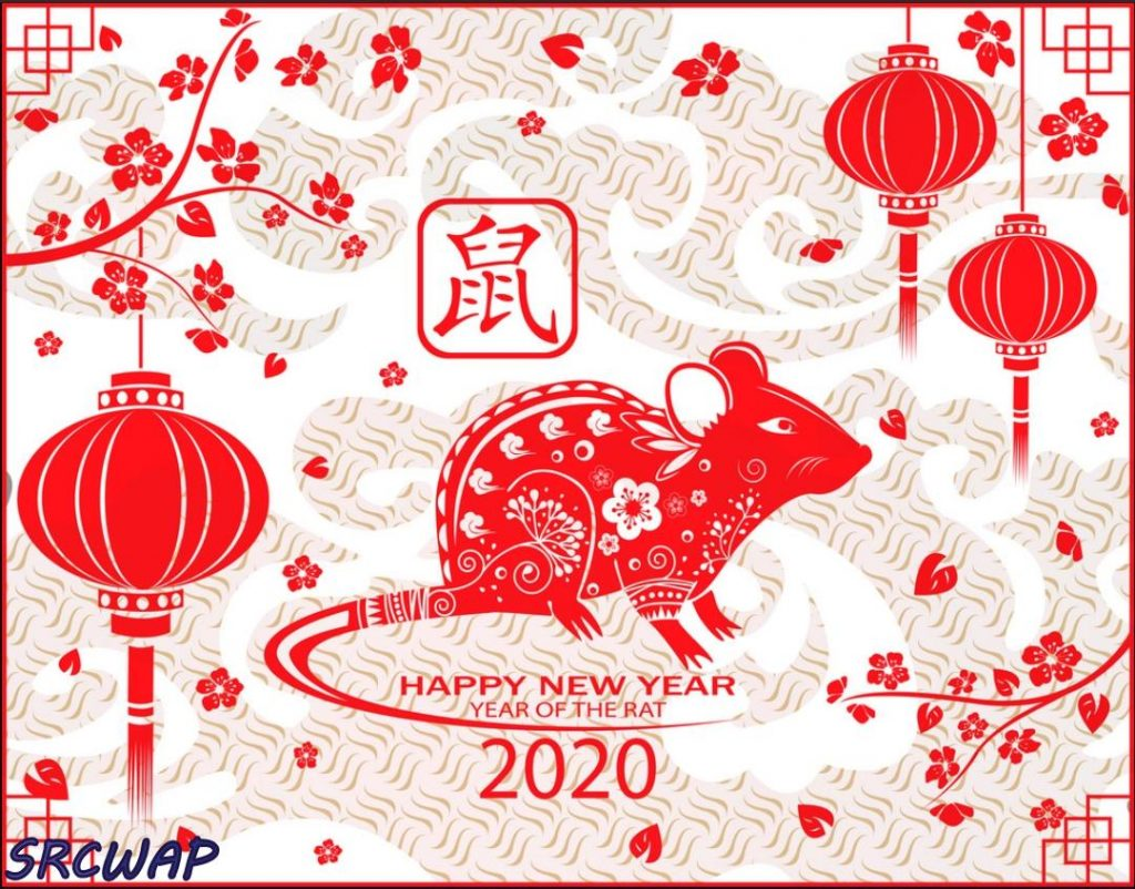 Happy chinese new year 2021 card with rat chinese