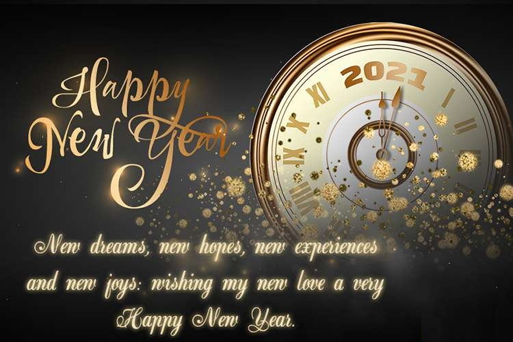 Happy new year 2021 status with clock