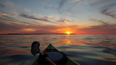 Canoeing, sea, sunset, skyline, sky, clouds+ Download Wallpapers