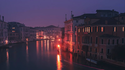 City, evening, Venice, Italy, houses+ Download Wallpapers