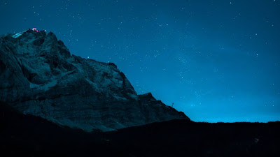 Lake, Mountains, Forest, Night, Stars, Sky+ Download Wallpapers
