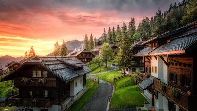 Travel, Village, Road, Houses, Mountains, Sunset+ Download Wallpapers