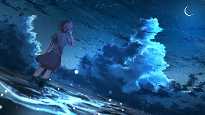 Wallpaper Anime Girl Starry Night Over Over Sea+ Download Wallpapers