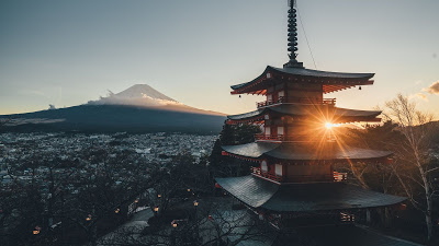 HD wallpaper pagoda, volcano, sunset, city+ Download Wallpapers