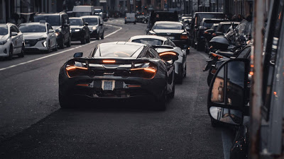 Wallpaper Free City, Biuldings, Sports Cars, Street, Back View+ Download Wallpapers