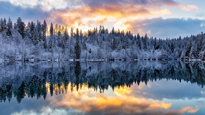 Screen background for free snow, winter sunset, forest, lake, reflection+ Download Wallpapers