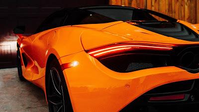 Wallpaper free Orange Mclaren, Supercar, Back View+ Download Wallpapers