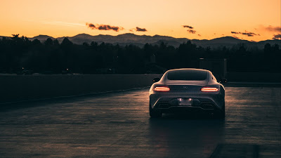 Free wallpaper Mercedes, Gray Car, Sunset+ Download Wallpapers