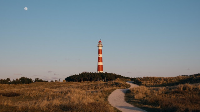 Moon, Lighthouse Tower, Path, Dry Grass+ Download Wallpapers