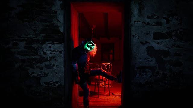 Wallpaper lonely man, mask, hood, light, dark+ Download Wallpapers