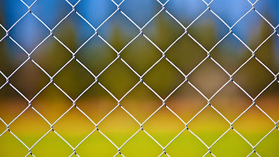 Desktop wallpaper with metal fence and iPhone+ Download Wallpapers