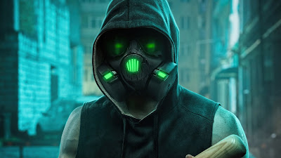 Hoodie Guy Wallpaper With Neon Gas Mask 4k+ Download Wallpapers