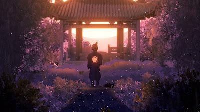 Wallpaper Samurai Sunset Pagoda Full HD+ Download Wallpapers