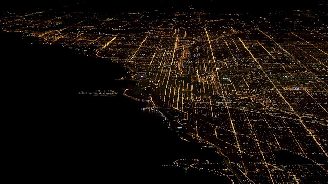 Wallpaper City Coast at night Aerial view+ Wallpapers Download