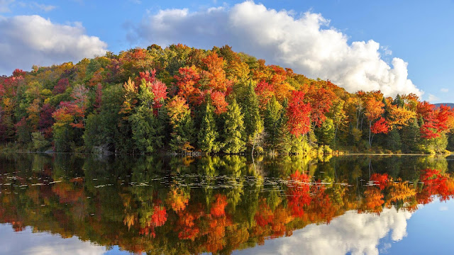 Wallpaper autumn landscape, lake, forest, clouds+ Wallpapers Download