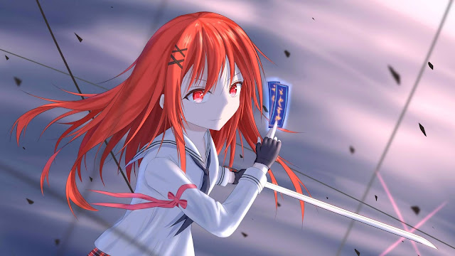 Warrior, long hair, redhead, anime wallpaper+ Wallpapers Download