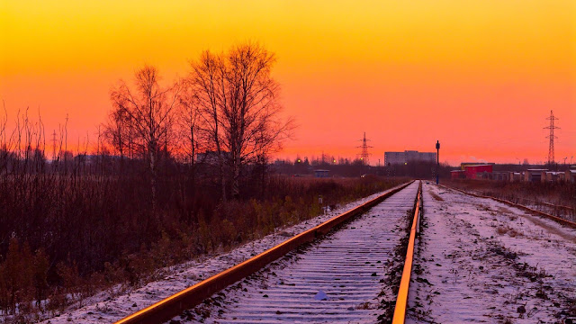 Sunset Railroad Tracks Wallpaper+ Wallpapers Download