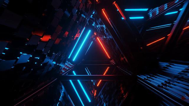 Dark hallway wallpaper with neon laser lights+ Wallpapers Download