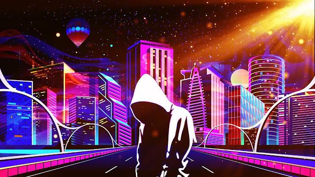 Neon City Hoodie Guy Wallpaper+ Wallpapers Download