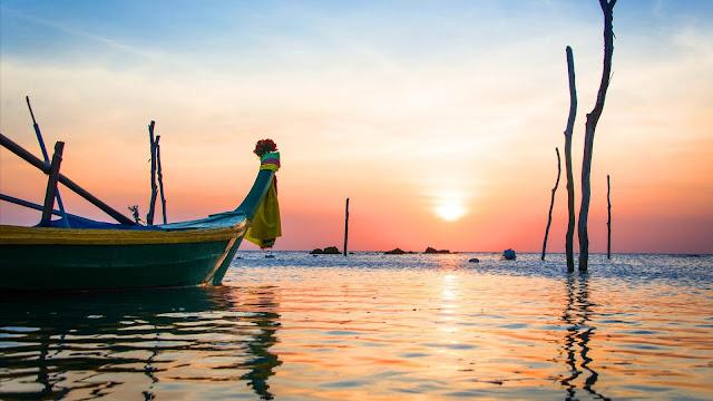 Canoe Sea Sunset desktop wallpaper+ Wallpapers Download