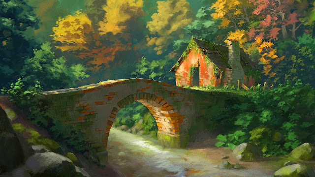 Abandoned house near a bridge over a river+ Wallpapers Download