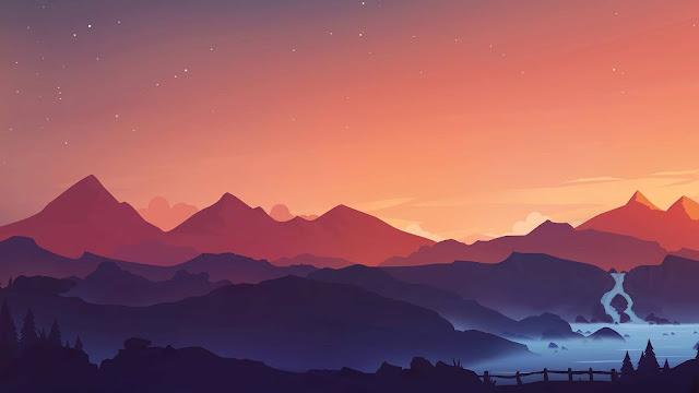 Sunset Mountain minimal wallpaper+ Wallpapers Download