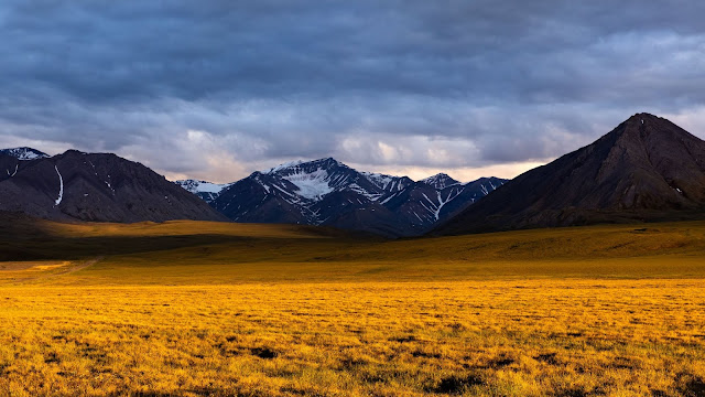 Wallpaper evening, mountain, field, clouds+ Wallpapers Download