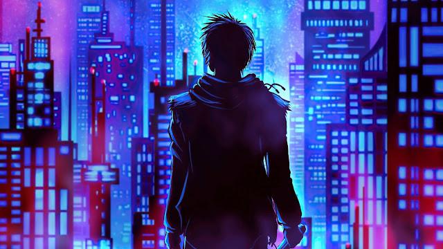 Neon City Guy Wallpaper+ Wallpapers Download