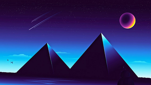 Synthwave Pyramids wallpaper remake+ Wallpapers Download