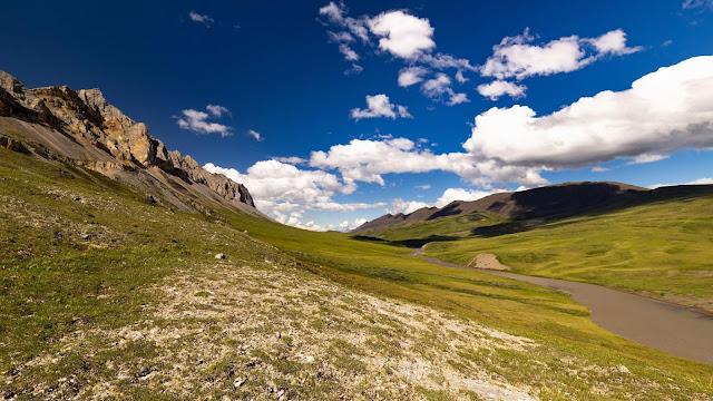 Wallpaper landscape, hills, river, field, clouds+ Wallpapers Download