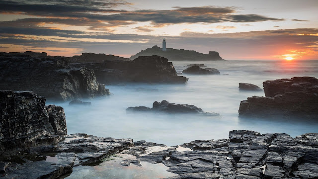 Sunset Sea Rocks Lighthouse View Wallpaper+ Wallpapers Download