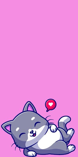 Kitten cartoon Iphone pink wallpaper+ Wallpapers Download