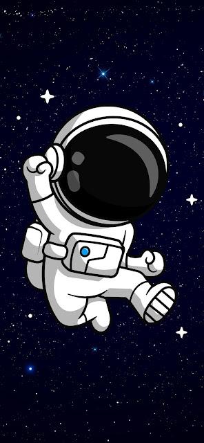Cartoon Astronaut In Space Iphone Wallpaper+ Wallpapers Download