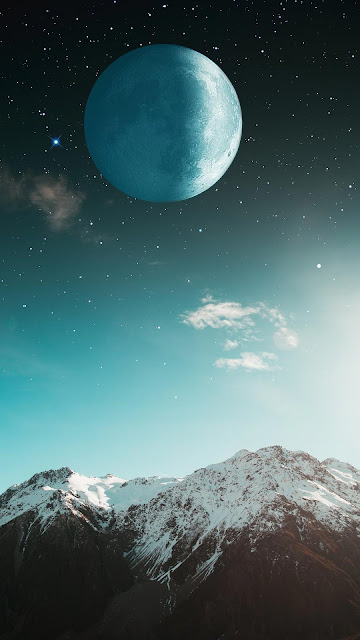 Moon wallpaper over snow on the mountain+ Wallpapers Download