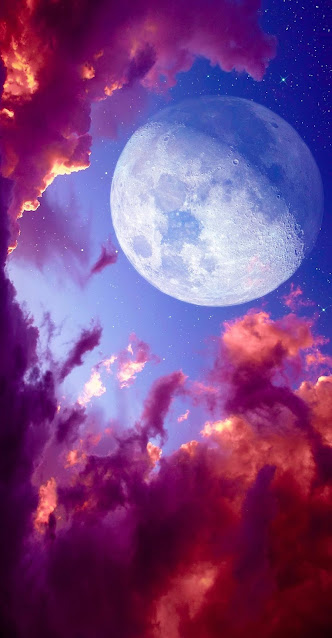 Pink Clouds and Moon Iphone Wallpaper+ Wallpapers Download