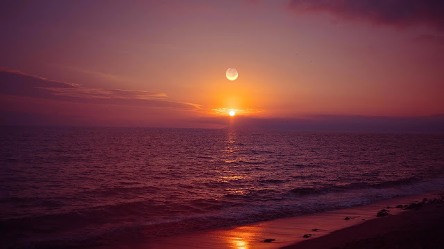 Fantastic wallpaper Sunset Sun and Moon Over Sea+ Wallpapers Download