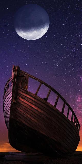 Canoe wood wallpaper, beach, night, moon+ Wallpapers Download