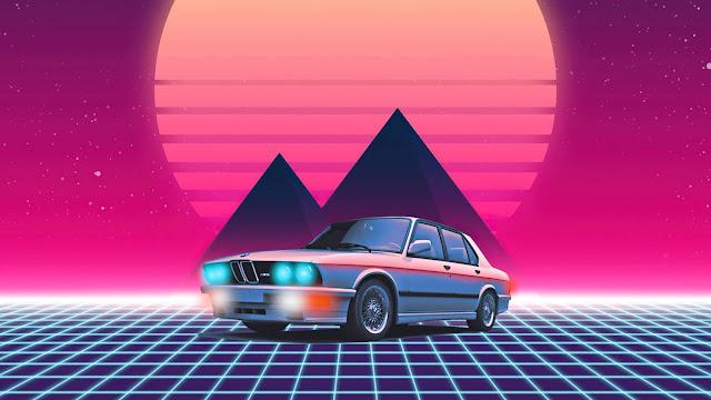 Sun, Pyramid, Old Car, Retrowave Wallpaper+ Wallpapers Download