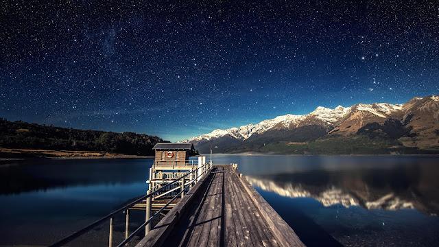 Pier, lake, mountain, night sky, stars wallpaper+ Wallpapers Download