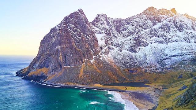Wallpaper beach, mountains, coast, sea, landscape+ Wallpapers Download