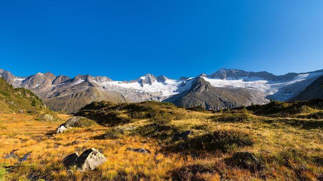 Wallpaper snowy mountains, field, blue sky+ Wallpapers Download