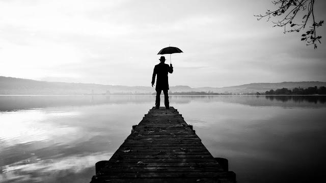 Lonely man, hat, pier, umbrella, lake, photo+ Wallpapers Download