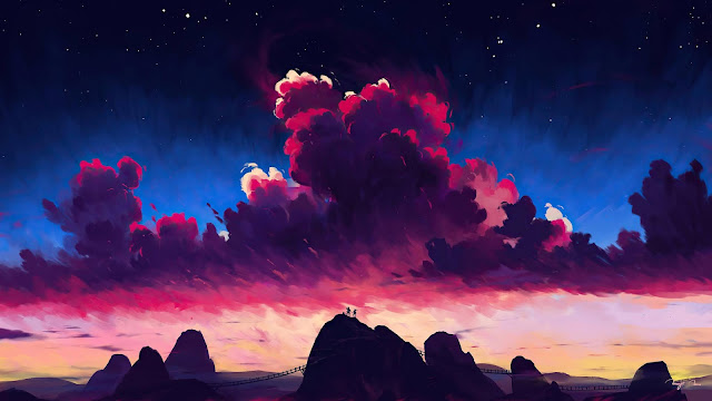 Sunset, Clouds, Night sky, Travelers, Hill, Art+ Wallpapers Download
